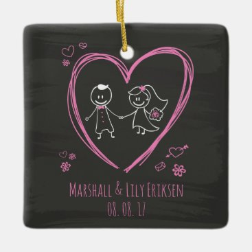Halloween Themed Personalized Cute Couple Wedding | Ornament