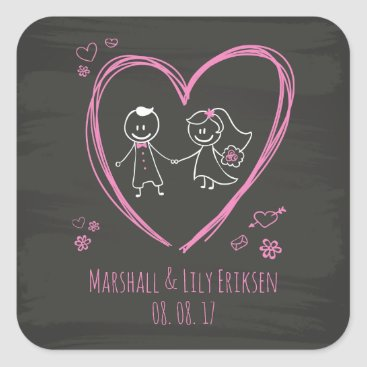 Halloween Themed Personalized Cute Couple Wedding | Sticker Seal