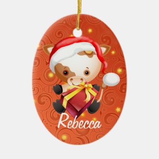 Personalized Cute Cow in Santa hat Xmas ornaments
