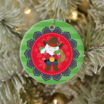 Personalized Cute Cowboy Santa Clause Western Ceramic Ornament