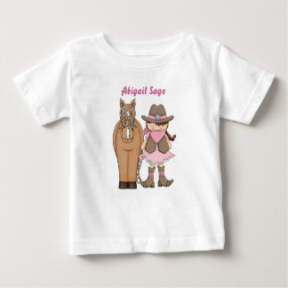 Personalized Cute Cowgirl and Horse Baby T-Shirt