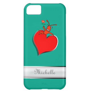 Personalized Cute Crawfish Lobser Heart (green) iPhone 5C Cases