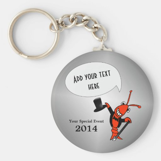 Personalized Cute Crawfish Lobster Top Hat Key Chain