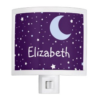 Personalized Cute Crescent Moon Starry Night Night Light