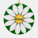 Personalized Cute Daisy Double-Sided Ceramic Round Christmas Ornament