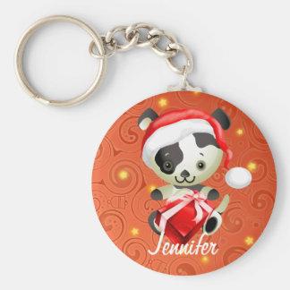 Personalized Cute Dog in Santa hat Xmas keychains