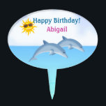 """Personalized Cute Dolphin Girls Beach Cake Topper<br><div class=""""desc"""">Cute Personalized Dolphin Cake Topper for Girls</div>"""