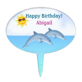 Personalized Cute Dolphin Girls Beach Cake Topper