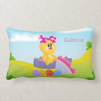 Personalized cute easter chic lumbar pillow