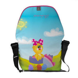 Personalized cute easter chic messenger bag