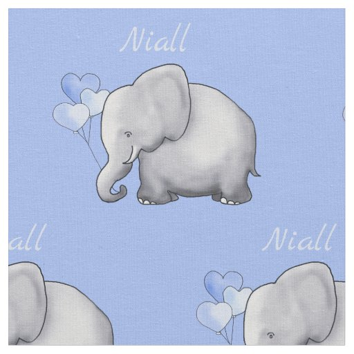 Personalized Cute Elephants Baby Boy Nursery Fabric