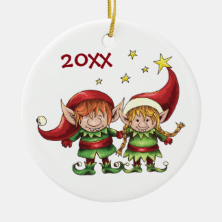 Personalized Cute Elf Couple Holiday Ceramic Ornament