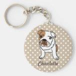 Personalized Cute English Bulldog Keychain