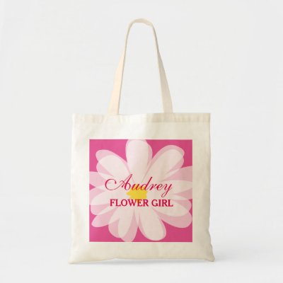 Personalized cute flowergirl wedding tote bag