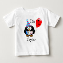 Personalized Cute Funny 1st Birthday Party Penguin Baby T-Shirt