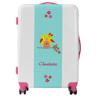 Personalized Cute Funny  Owl Yellow Pink Luggage