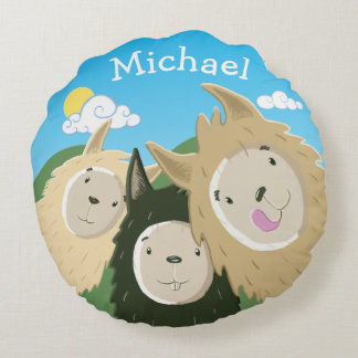 Personalized Cute Furry Llamas Round Pillow