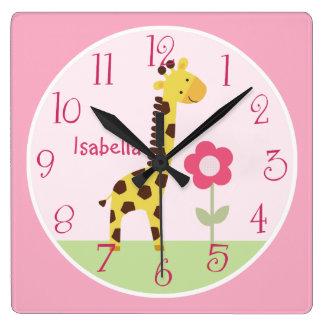 Personalized Cute Giraffe Nursery Clock
