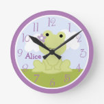 Personalized Cute Girl Frog Kids Clock
