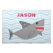 Personalized Cute Gray Shark Blue Waves Cloth Placemat