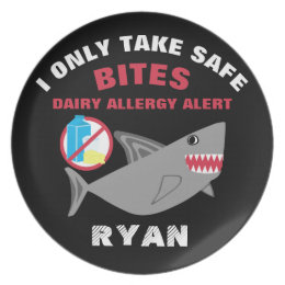 Personalized Cute Gray Shark Dairy Free Plate