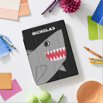 Personalized Cute Gray Shark Kids Modern Fish iPad Smart Cover