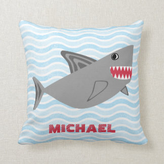 Personalized Cute Gray Shark Swimming in Waves Throw Pillow