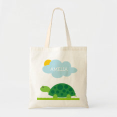 Personalized Cute Green Turtle Kids Tote Bag at Zazzle