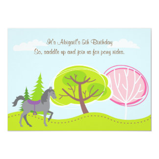 Personalized Cute Grey Horse Pony Rides Birthday Card