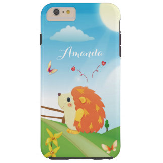 Personalized Cute Hedgehog Butterfly Sunny Day Tough iPhone 6 Plus Case