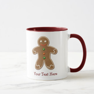 Personalized Cute Holiday Gingerbread Man Mug