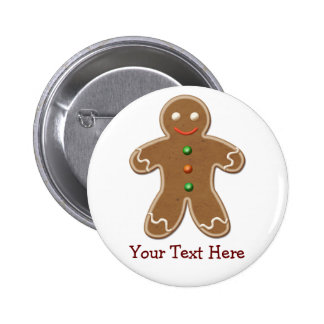Personalized Cute Holiday Gingerbread Man Pinback Button