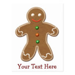 Personalized Cute Holiday Gingerbread Man Postcard