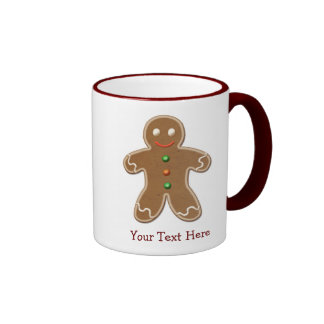 Personalized Cute Holiday Gingerbread Man Ringer Mug
