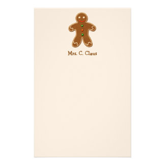 Personalized Cute Holiday Gingerbread Man Personalized Stationery