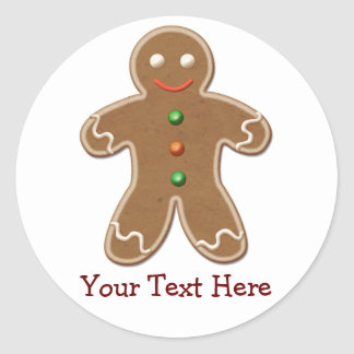 Personalized Cute Holiday Gingerbread Man Stickers