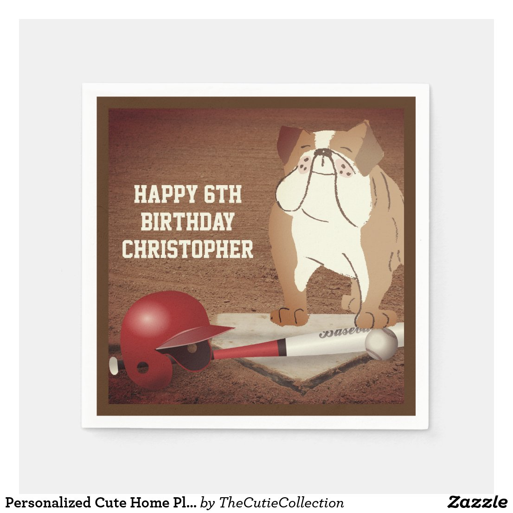 Personalized Cute Home Plate Baseball Bulldog Napkin