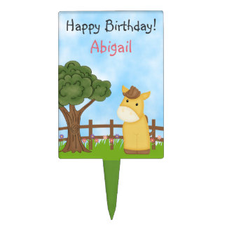 Personalized Cute Horse Cake Topper for Girls