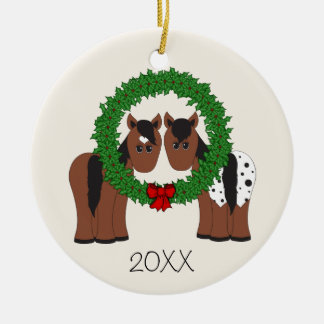 Personalized Cute Horse Couple Christmas Wreath Ceramic Ornament