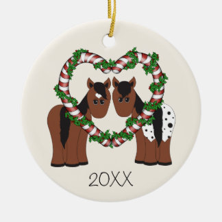 Personalized Cute Horses First Christmas Ornament