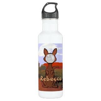 Personalized cute kangaroo face 24oz water bottle