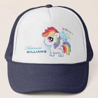 Personalized cute kawaii rainbow pony with stars trucker hat