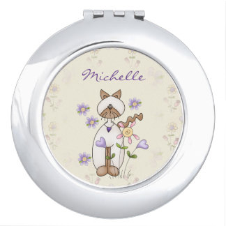 Personalized Cute Kitty Cat and Flowers Vanity Mirror
