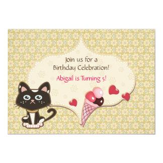 Personalized Cute Kitty Cat Birthday Invitation