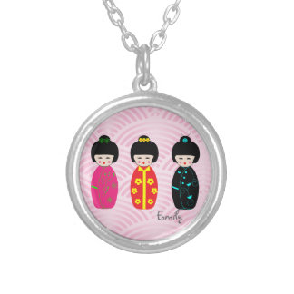 Personalized Cute Kokeshi Dolls Design Necklace