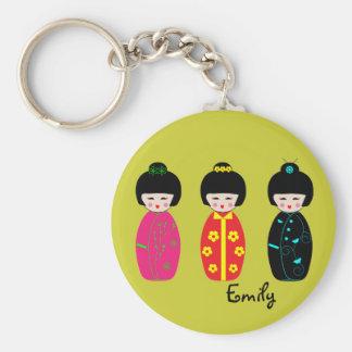 Personalized Cute Kokeshi Dolls Designs Keychain