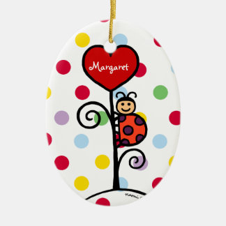 Personalized Cute LadyBug drawing Ceramic Ornament