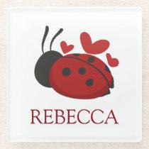 personalized cute ladybug glass coaster