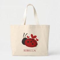 personalized cute ladybug large tote bag