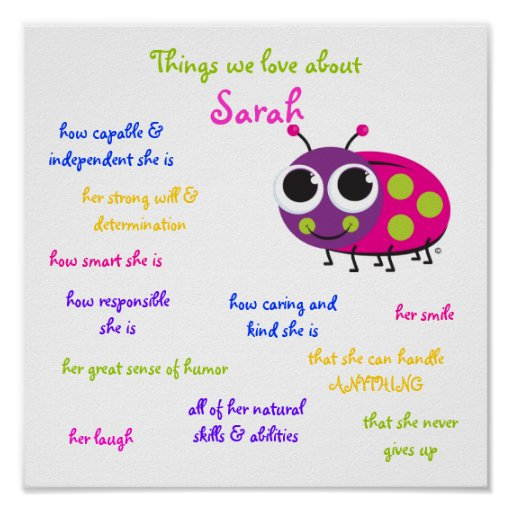"""Personalized """"Cute Ladybug"""" Poster for girls"""